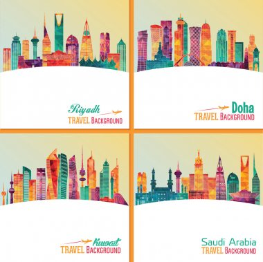 set of travel posters