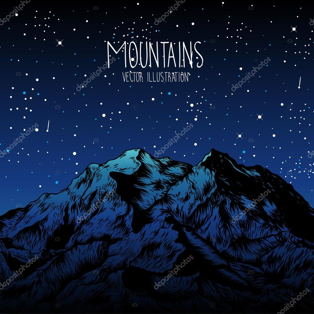 hand-drawn mountains poster
