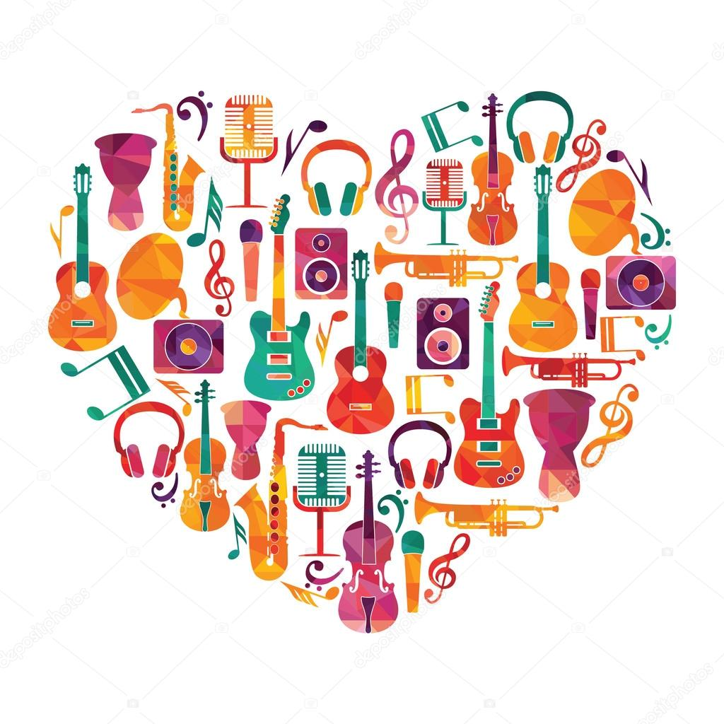 Musical instruments on heart shape