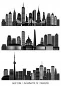 Panorama města podrobně silueta sada