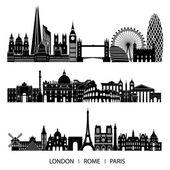 City set of London, Paris, Rome