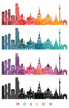 Moscow skyline detailed silhouette
