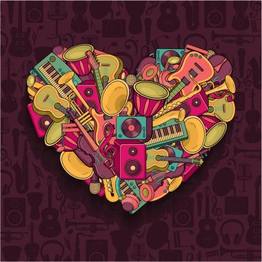Colorful music heart