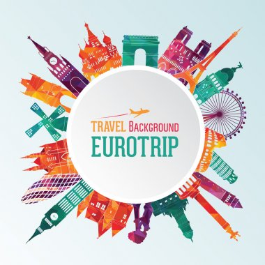 Vector illustration of travel famous monuments of Europe stock vector