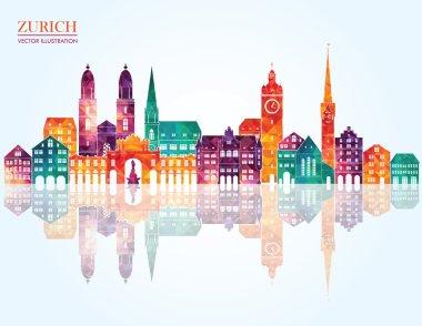 Zurich Switzerland city detailed skyline