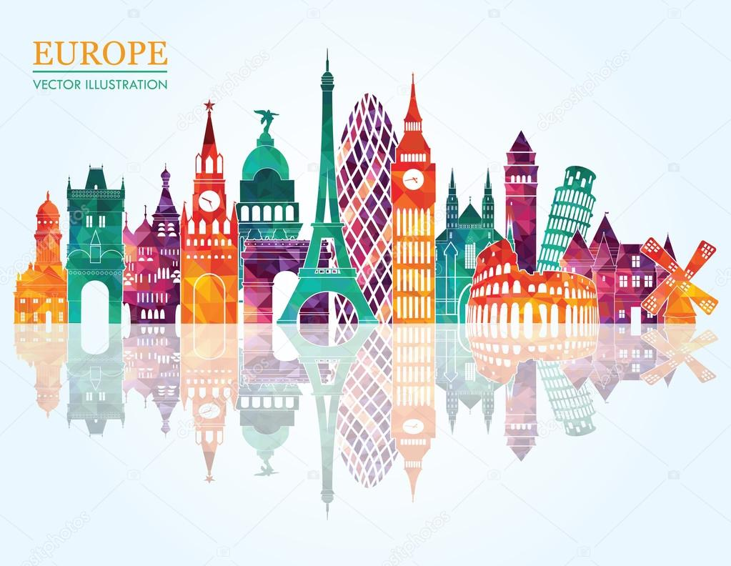 Europe skyline detailed silhouette