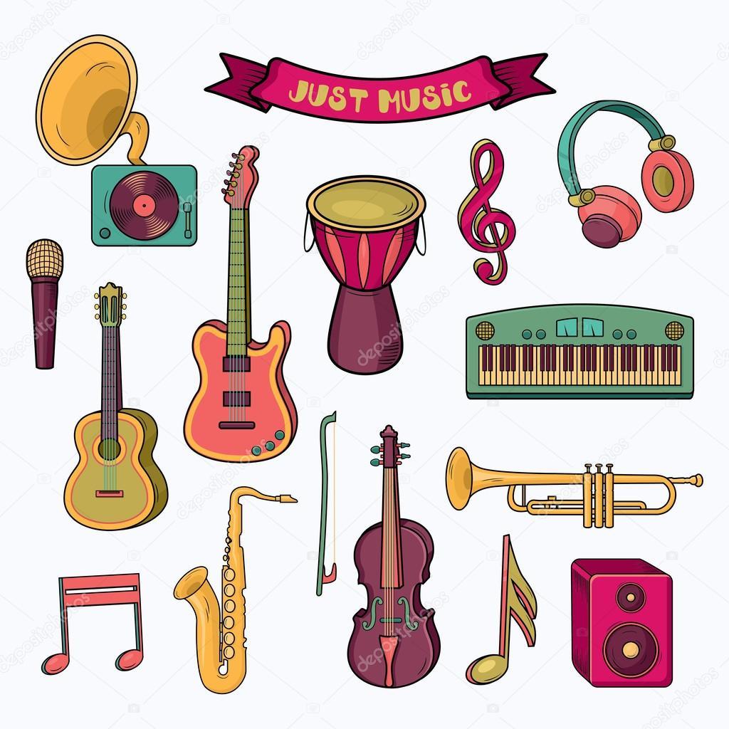 Instrumentos De Música Colorido Dos Desenhos Animados