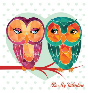Valentine's day card with owls