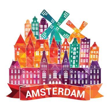 """Картина, постер, плакат, фотообои """"амстердам на горизонте """", артикул 65379787"""