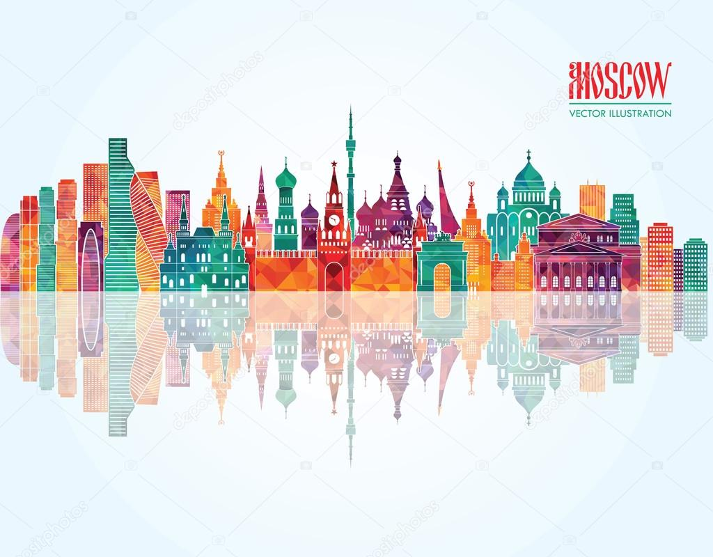 Moscow skyline detailed silhouette.