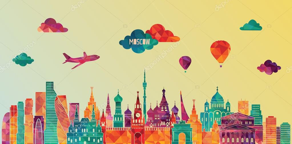 Moscow detailed skyline.