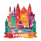 Praha Panorama ilustrace