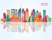 Photo Jakarta detailed skyline.