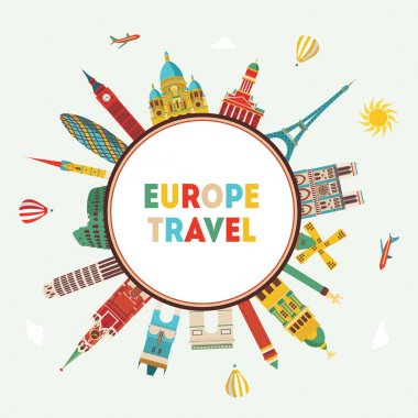 Travel famous monuments of Europe.