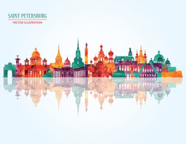 Saint Petersburg detailed city skyline.