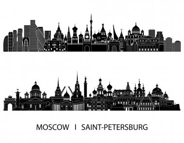 Moscow and Saint Petersburg skyline detailed silhouette. Vector illustration clip art vector