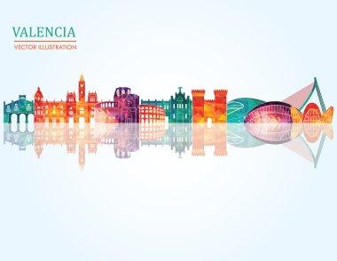 Valencia skyline detailed silhouette.