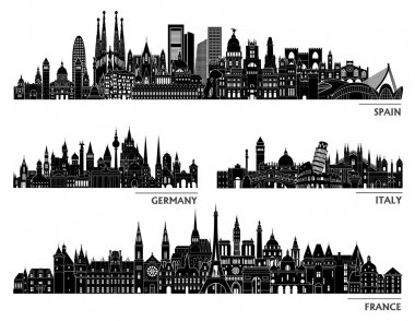 City skyline detailed silhouette set