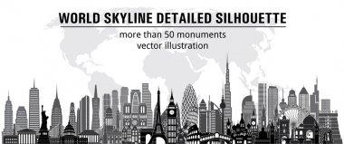 World skyline detailed silhouette.