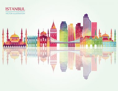 Istanbul skyline detailed silhouette.