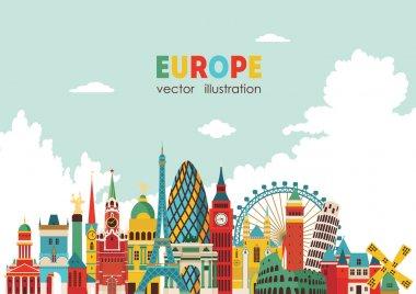 Europe skyline detailed silhouette.