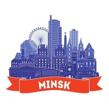 Minsk city detailed skyline.