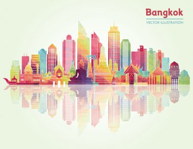 Bangkok city detailed skyline