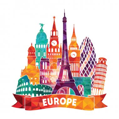 Europe detailed silhouette.