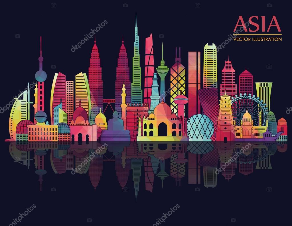 Asia skyline detailed silhouette.