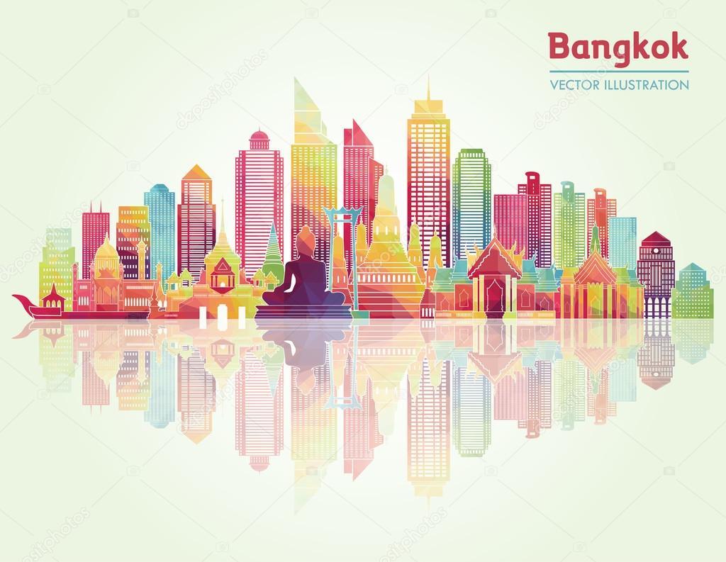 Bangkok city detailed skyline