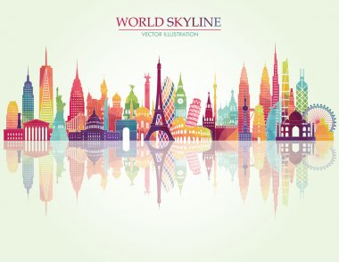 World skyline detailed silhouette