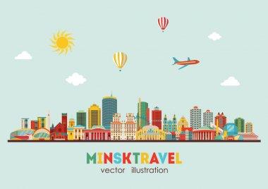 Minsk city detailed skyline
