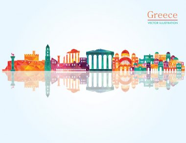 Greece detailed skyline. Vector illustration