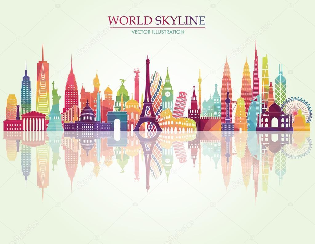 World skyline detailed silhouette
