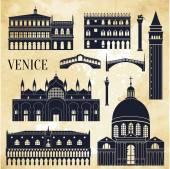 Silueta detailní památky Benátek