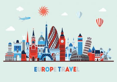 Europe skyline detailed silhouettes