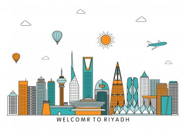 Riyadh skyline line illustration