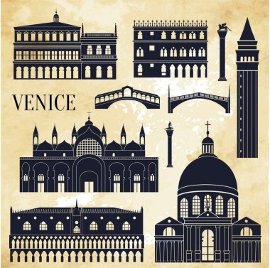 Venice detailed monuments silhouette