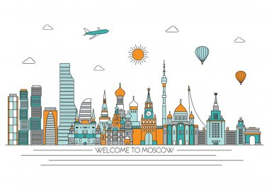 Moscow detailed skyline. Vector line illustration. Line art style