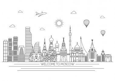 Moscow detailed skyline. Vector line illustration. Line art style.