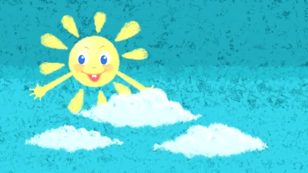 Egy mosolygó nap hurok animációja a kék ég ellen, felhőkkel és szivárvánnyal..