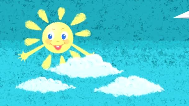 Looped animáció egy rajz egy mosolygó nap ellen a kék ég felhők és szivárvány emelkedik, és egy papír repülőgép repül.