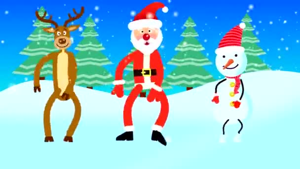 Santa Claus, a deer and a snowman are dancing on the background of snow and Christmas trees. Looped flat animation with drawn characters.