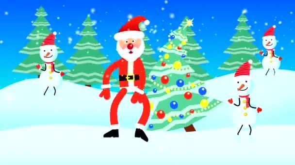 Der Weihnachtsmann und drei Schneemänner tanzen vor der Kulisse von Schnee und einem geschmückten Weihnachtsbaum. Loopflache Animation mit gezeichneten Charakteren.