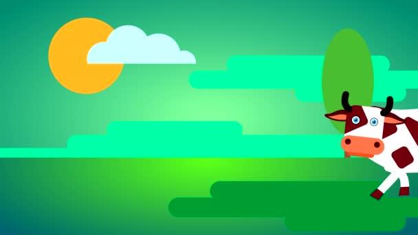 Eine weiße Kuh mit dunklen Flecken und großen Augen geht auf grünem Gras vor grünem Himmel mit Wolken und Sonne. Loopingzeichentrick mit gezeichnetem flachen Charakter.