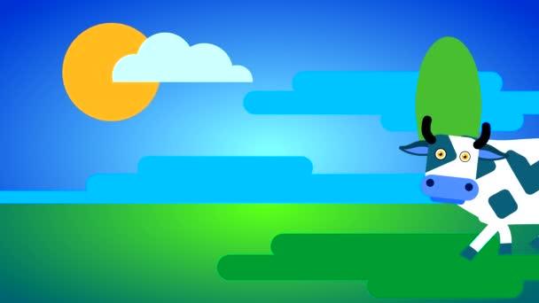 Eine weiße Kuh mit dunklen Flecken und großen Augen geht auf grünem Gras vor blauem Himmel mit Wolken und Sonne. Loopingzeichentrick mit gezeichnetem flachen Charakter.