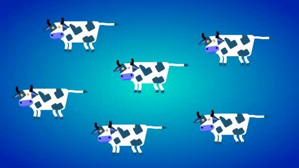Abstrakter blauer Hintergrund mit weißen Kühen. Loopanimation mit flachen Charakteren, Tiere mit Hörnern und Schwänzen blinzeln und wackeln.