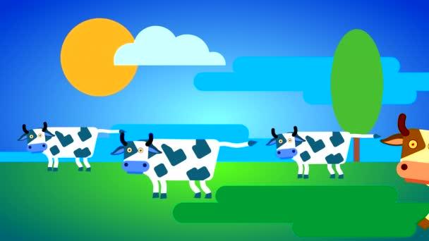 Weiße Kühe grasen auf einer grünen Wiese vor blauem Himmel mit Wolken und Sonne. Looping-Animation gezeichneter Haustiere mit Körper- und Augenbewegungen.