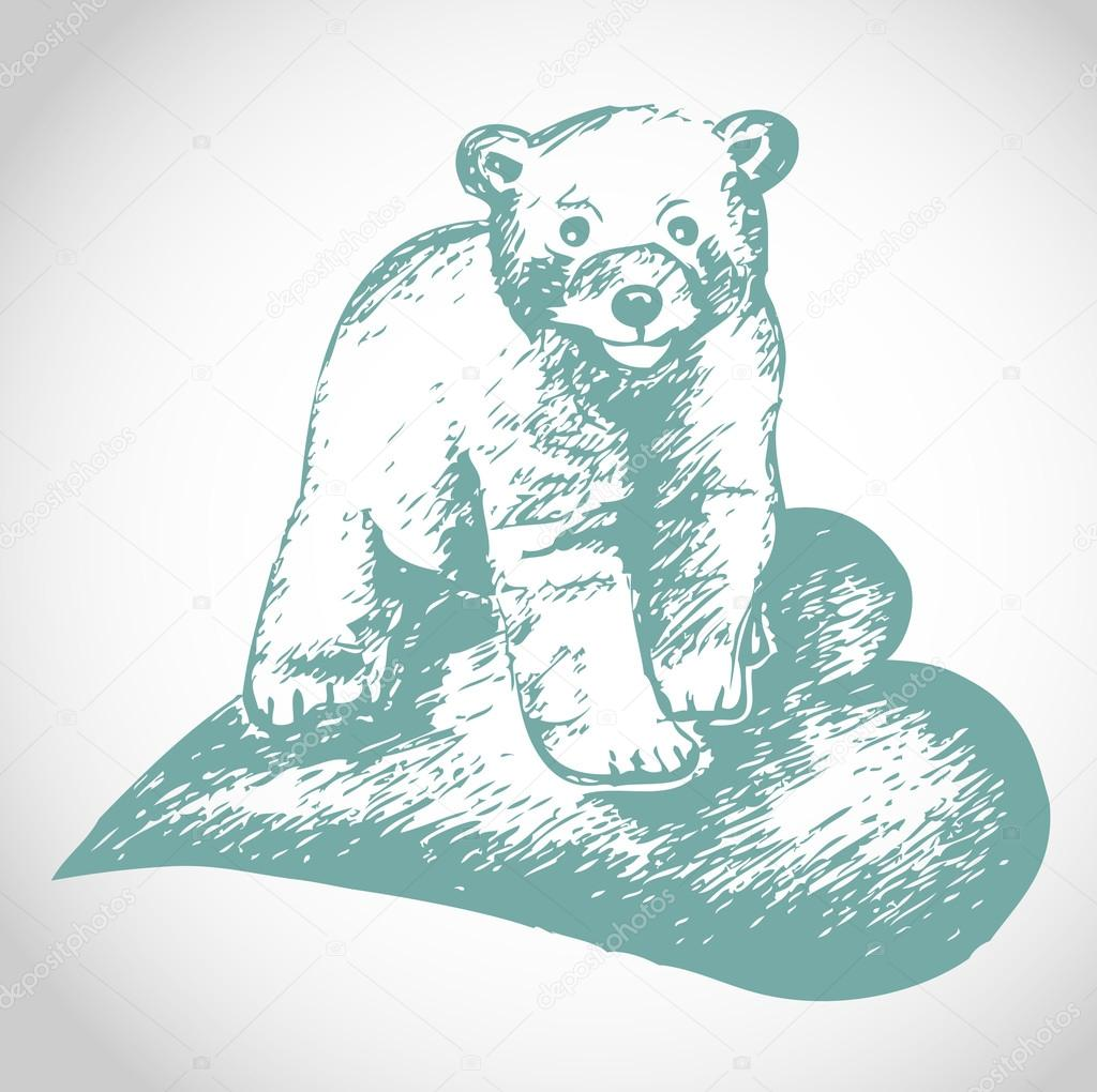 Cute Valentine's  bear vector illustration