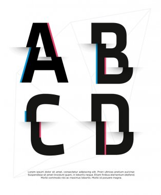 set of abstract broken font letters